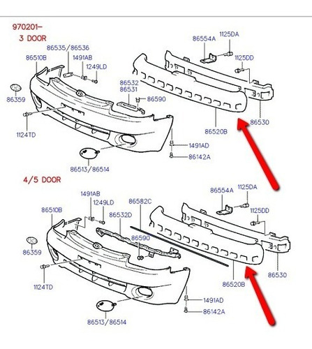 absorbedor de impacto paragolpes delan hyundai accent 97-99
