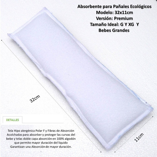 absorbente pañales ecológicos bebe tela 32x11 premium envíos