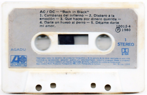ac dc back in black 1980 cassette uruguay raro