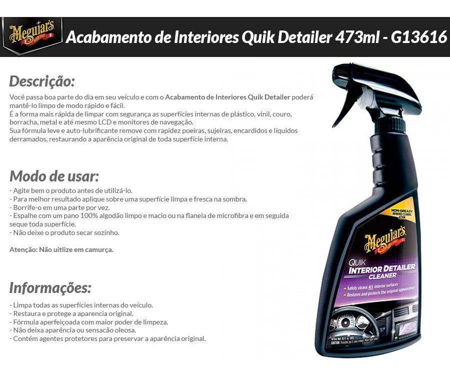 Resultado de imagem para Quik Interior Detailer Limpeza de Interiores 473ml Meguiars G13616