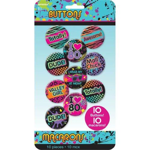 accesorio clásico de botones awesone 80's party, metal