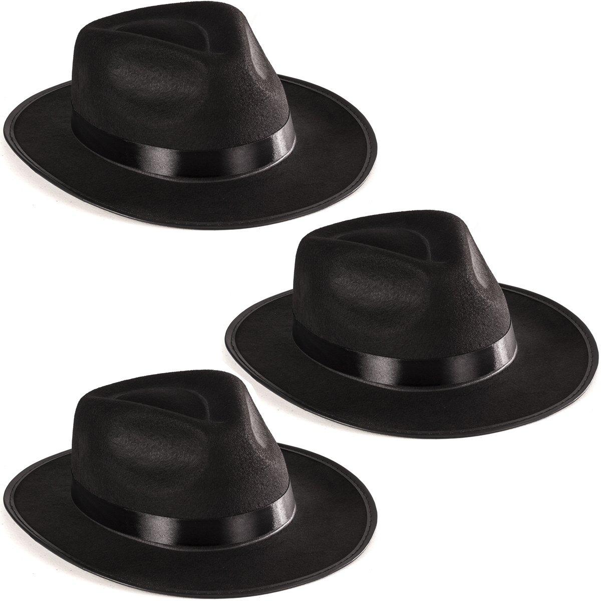 95c729bdc895b accesorio de disfraz de sombrero de gángster fedora negro -. Cargando zoom.
