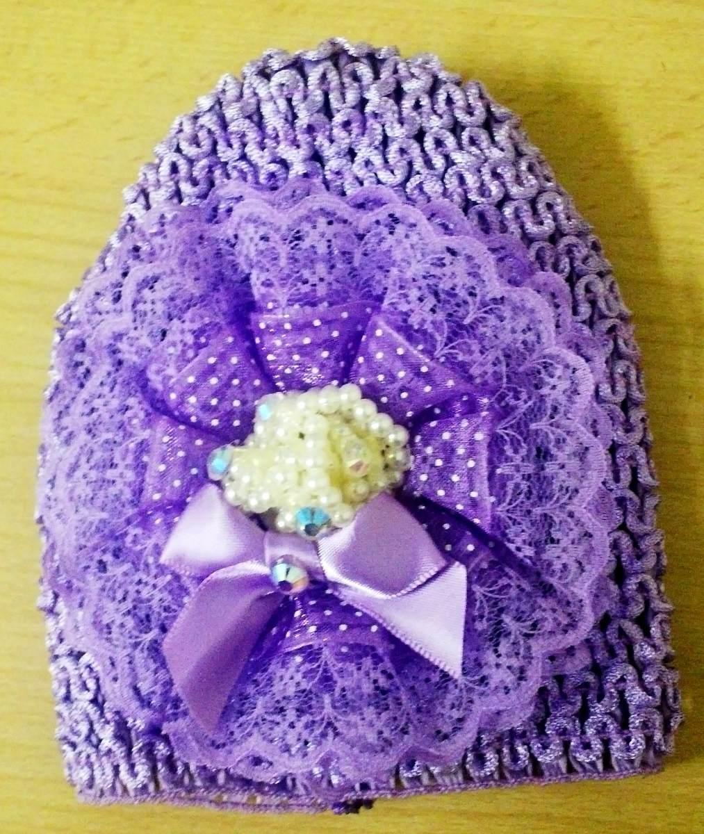 Accesorio Gorros Flores Perlas Bebe Balaca Cabello Crochet 9 000