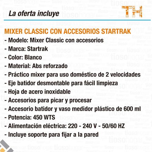 accesorio minipimer star trak mixer procesador mano completa