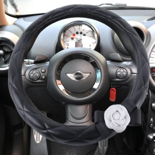 accesorio volante cubierta automovil cuero color negro