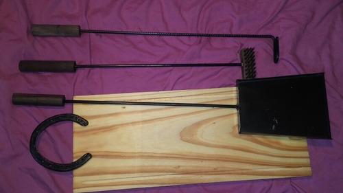 accesorios asado kit x4 herramientas asador parrilla
