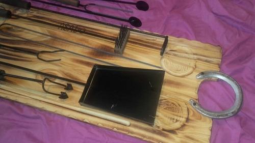 accesorios asador kit x9 tabla asado 80x30 parrilla quincho