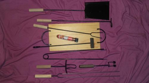 accesorios asador parrilla kit tabla asado madera picadas