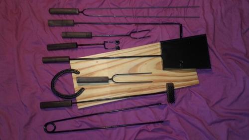 accesorios asador x9 kit con cepillo lasergratis tabla asado