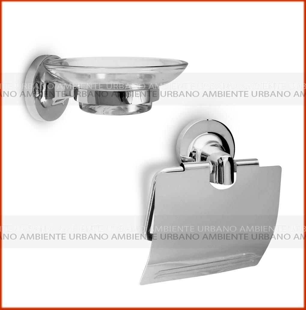 accesorios baño kit set 7 pzas metalicos y repisa de vidrio. Cargando zoom. b343d7e976ad