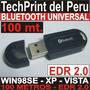 Bluetooth Usb Edr2 100mt Nokia Sony Motorola Win98se Xp Vist