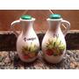 Vinagrera Y Aceitera Blanca En Ceramica Con Tapa Verde