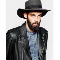 Sombrero Hombre Fedora 100% Lana Gris Carbón Nuevo M/l