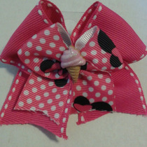 Lazo De Cinta Minnie Mouse Fuscia/negro Hermoso Con Gancho