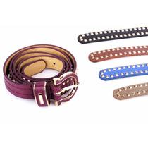 Cinturón Cuero Sintético Tachas Colores Mujer.
