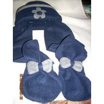 Gorro Con Bufanda De Polar Azul Marino Con Gris