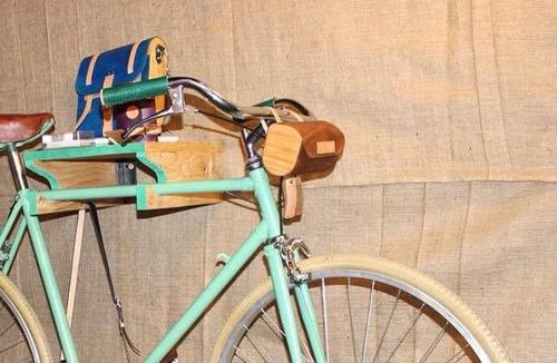 accesorios para bici soporte de madera mueble estante