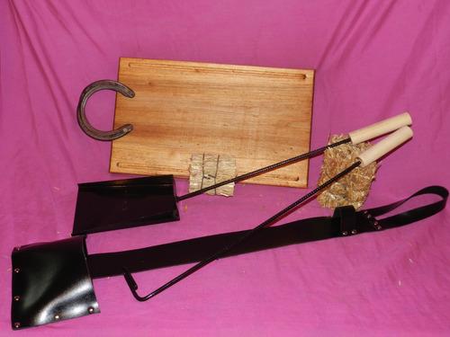 accesorios parrilla tabla asado picadas madera kit asador *