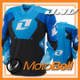 Franela Jersey One Carbon Azul Para Motocross Enduro Downhil