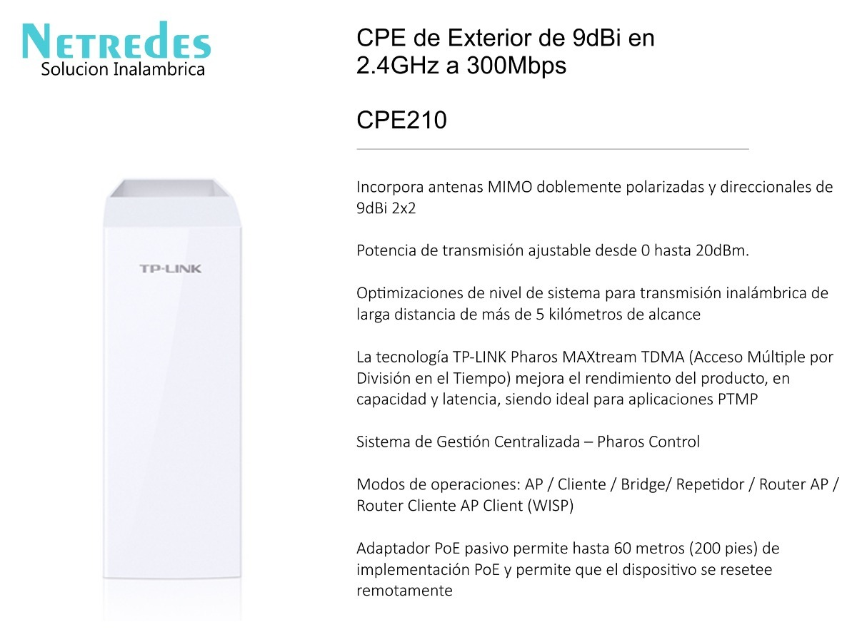Access Point Tp Link Tl Cpe210 300mbps 9dbi 24ghz Exterior Acces Wifi Tplink Outdoor Cpe Cargando Zoom