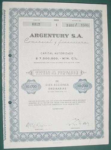 accion argentury comercial financiera 100 acciones 1957
