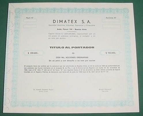 accion dimatex sa cien mil acciones 1980 titulo portador