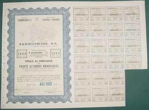 accion ferrometal sa veinte acciones 1960 titulo portador