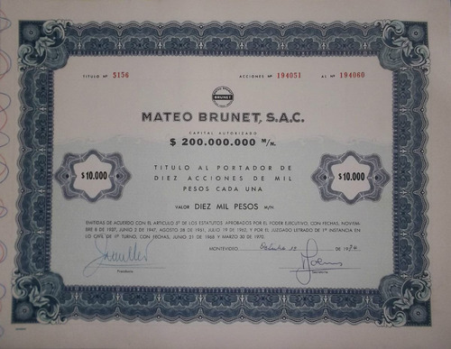 accion mateo brunet - $10.000 (1974) x2 unidades.