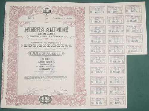 accion minera alumine 100 acciones 1960 titulo portador