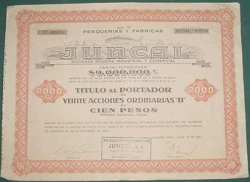 accion pesquerias fabricas juncal 20 x cien pesos 1951