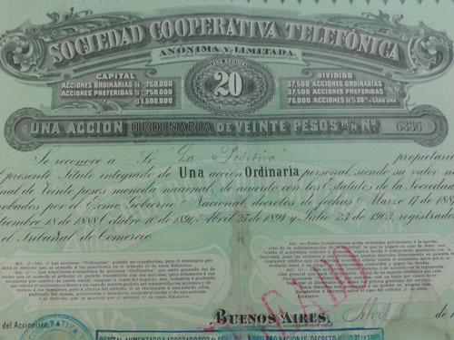 acción sociedad cooperativa telefonica año 1904