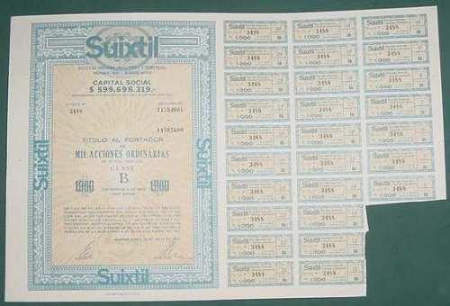 accion suixtil 1978 industrial comercial 1000 acciones