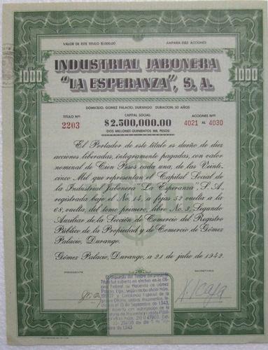 accion/bono industria jabonera  la esperanza  1942