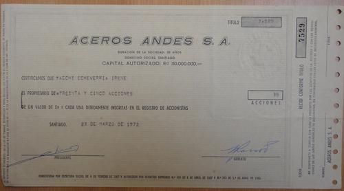 acciones aceros andes s.a. santiago 1972