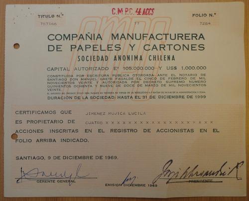 acciones cia manufacturera de papeles y cartones stgo 1969