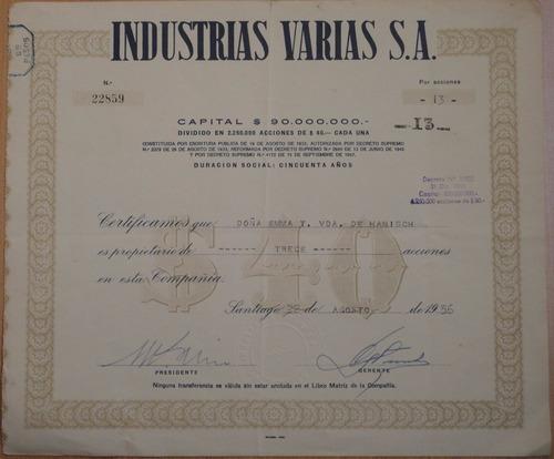 acciones cindustrias varias s.a. santiago 1956