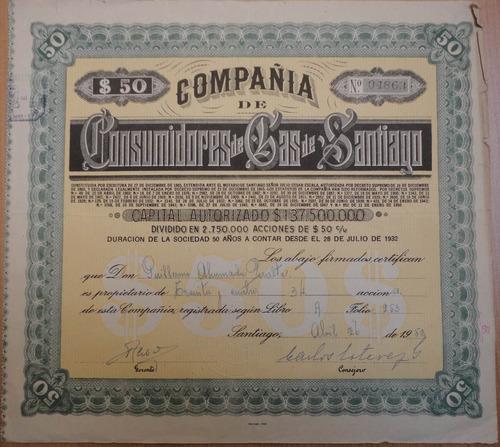 acciones compañía de consumidores de gas de santiago 1952