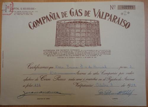 acciones compañía de gas de valparaíso 1959