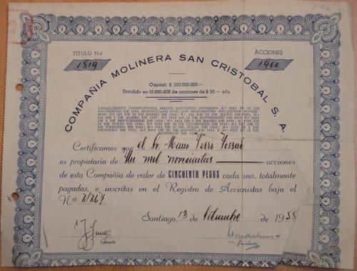 acciones compañía molinera san cristobal s.a.santiago 1958