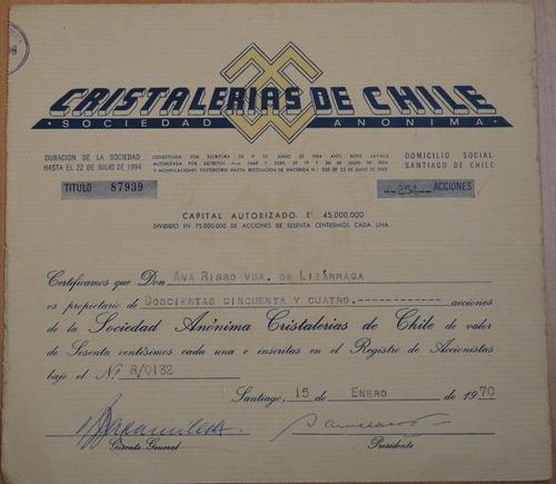 acciones cristaleria de chile santiago 1970