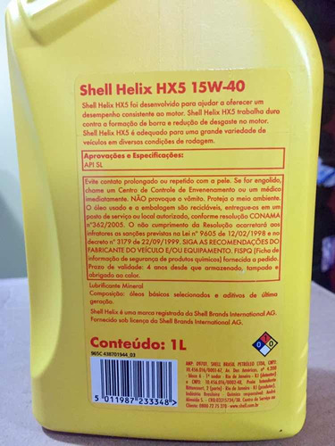 aceite 15w40 mineral shell
