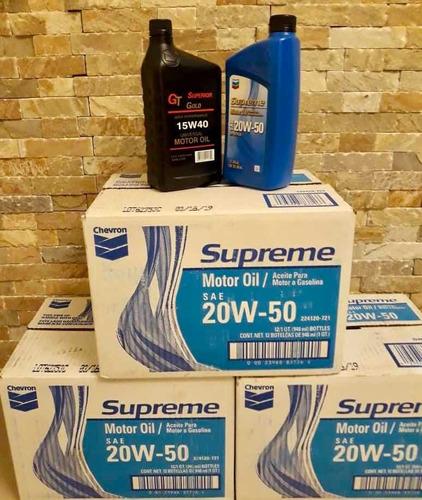 aceite 20w50 mineral chevron supreme y 15w40 superior gold