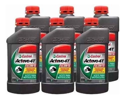aceite castrol 4t actevo caja 6 unidades mineral cuotas