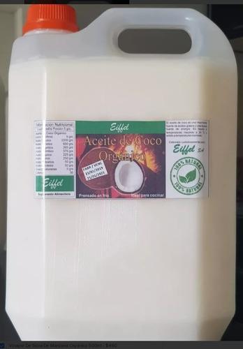 aceite coco neutro prensado frío comestible 10 lts. organico