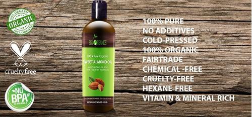 aceite de almendra 100 % puro organico prensado frio 473 ml