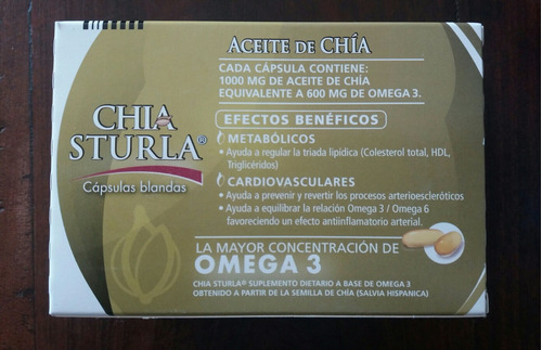 aceite de chía sturla 1000 mg. omega 3 x 60 cápsulas blandas