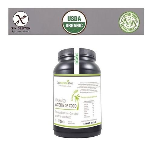 aceite de coco 1 litro extra virgen organico prensado frio