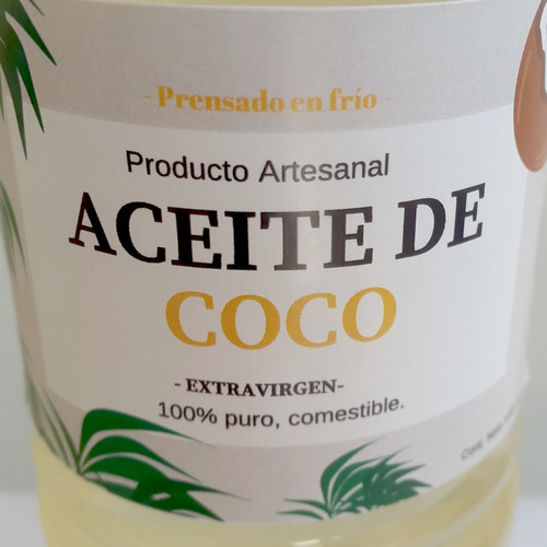 aceite de coco extra virgen comestible prensadoal frío 500cc