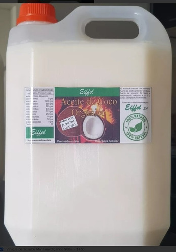 aceite de coco neutro 5 litros comestible prensado en frío
