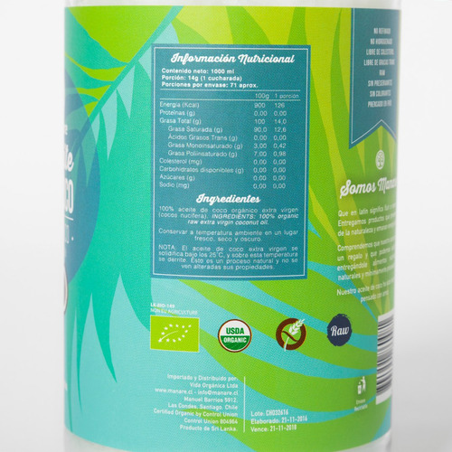aceite de coco organico 1lt boleta
